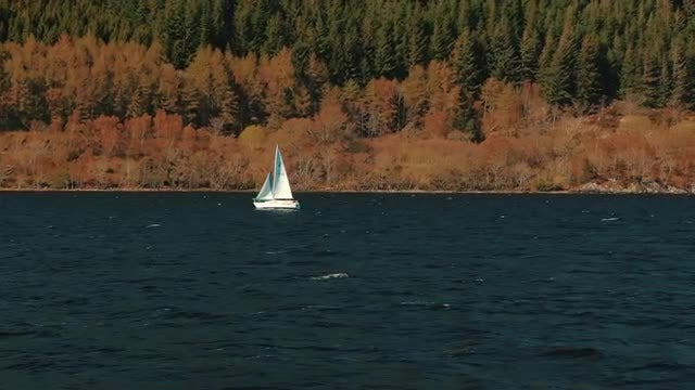 Sailboat in Loch Ness: Stock Video