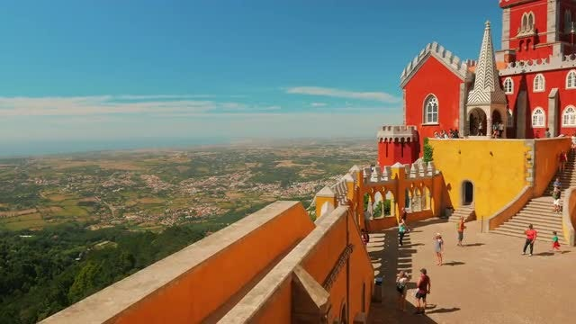 Portugal Palace And Hill: Stock Video
