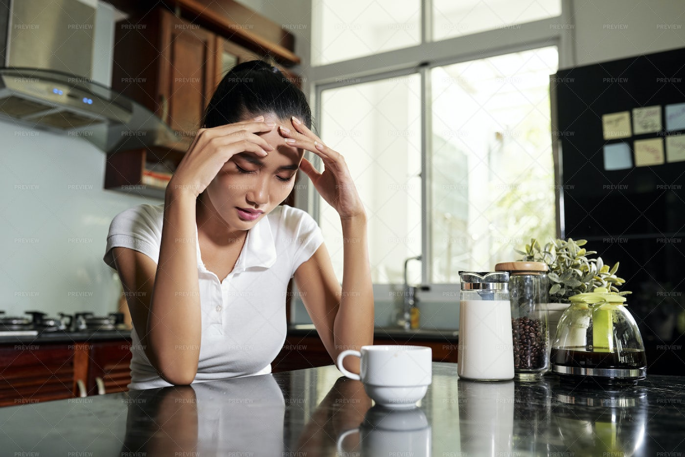 Young Woman In Kitchen With Coffe: Stock Photos