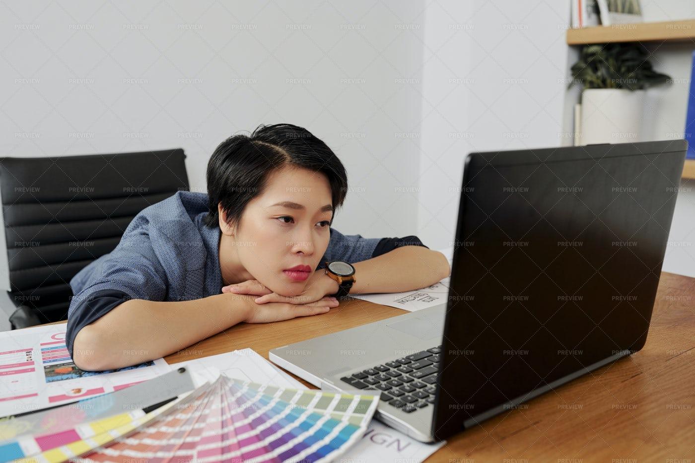 Web Designer Reading E-mail: Stock Photos