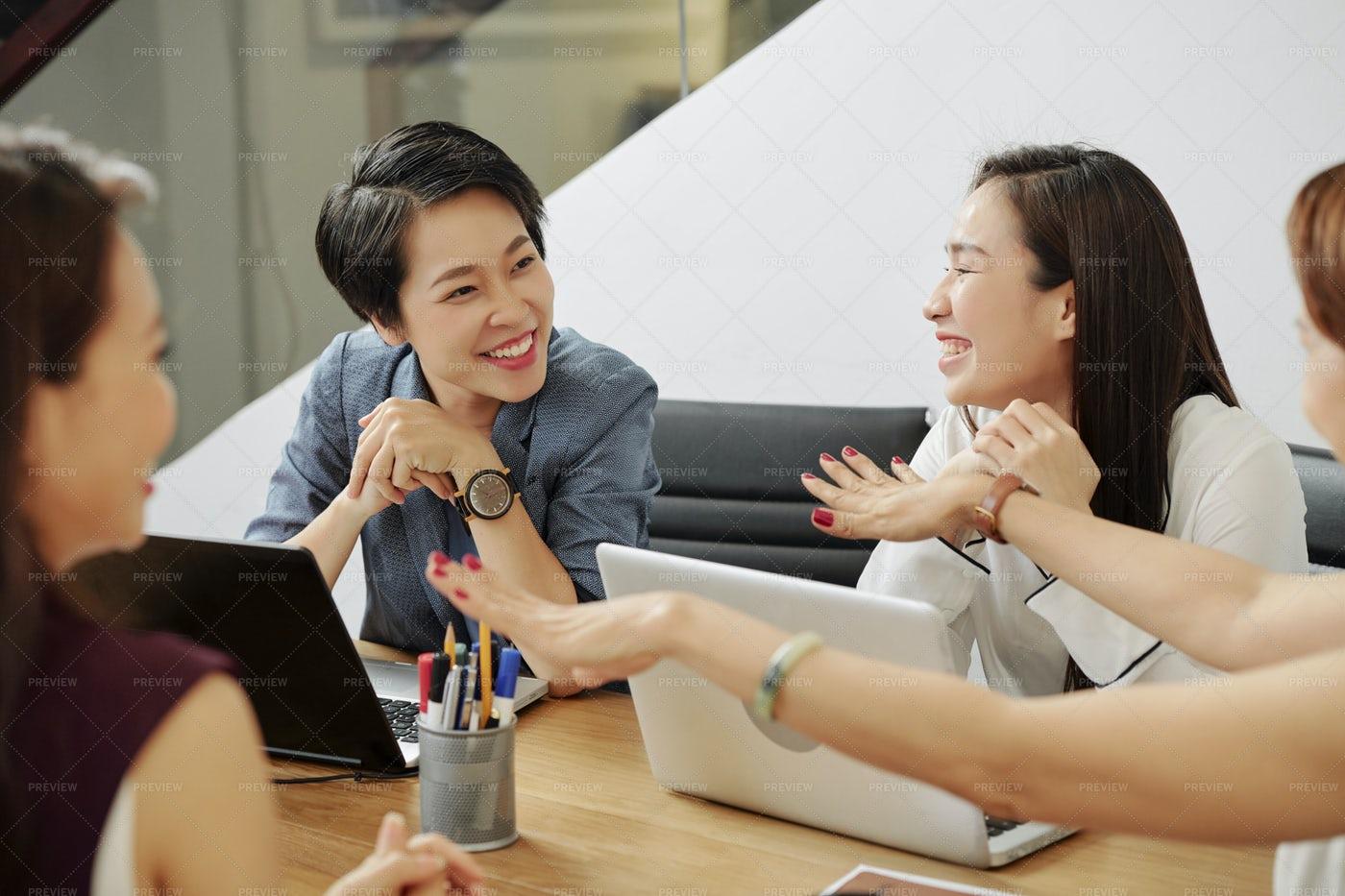 Cheerful Talking Businesswomen: Stock Photos