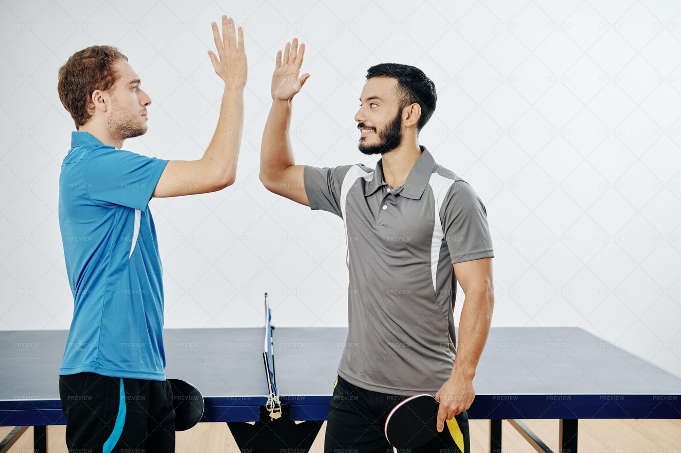 Ping Pong Players Giving High Five: Stock Photos