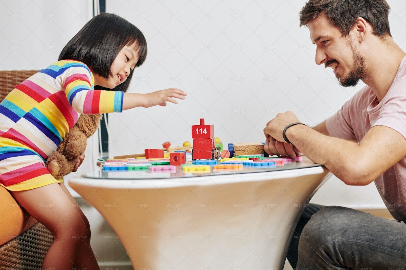 Father And Daughter Building Tower: Stock Photos