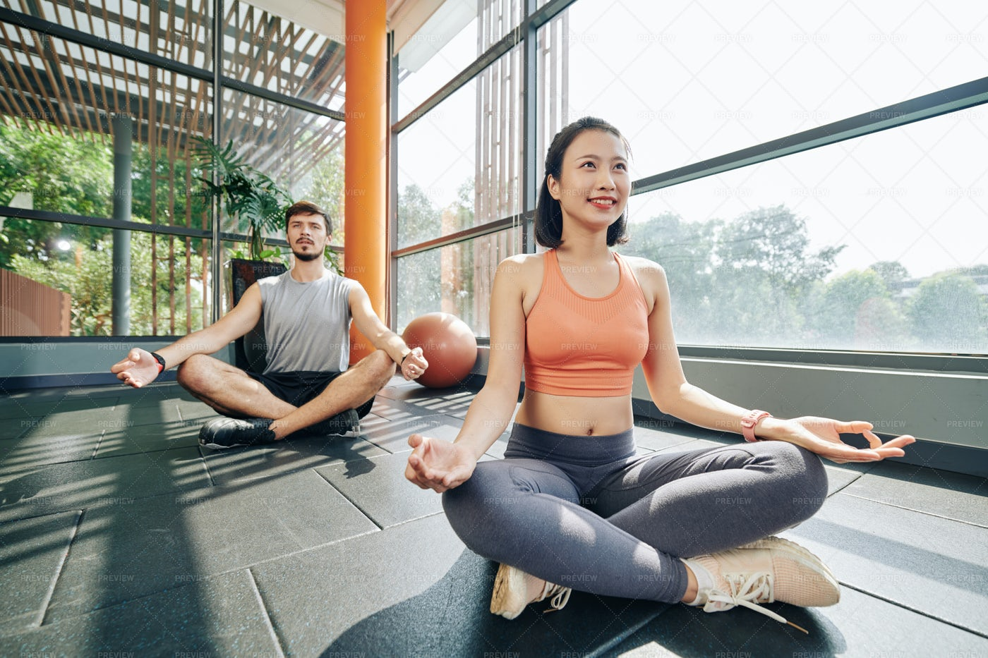 Young People MLearning To Meditate: Stock Photos