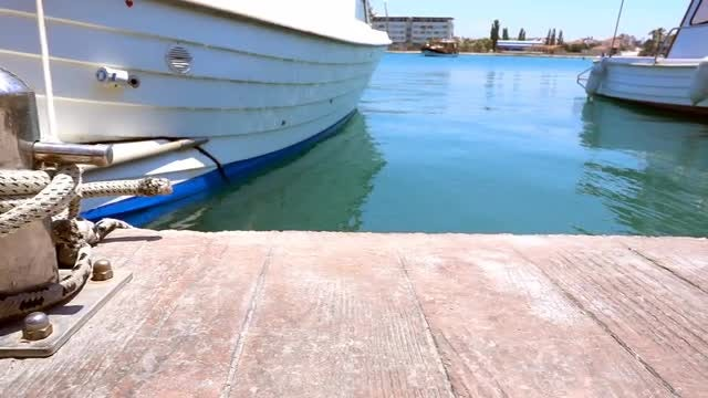 Boat Tied To Bollard : Stock Video