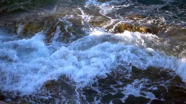 Seaside Waves Hits The Rocks: Stock Video