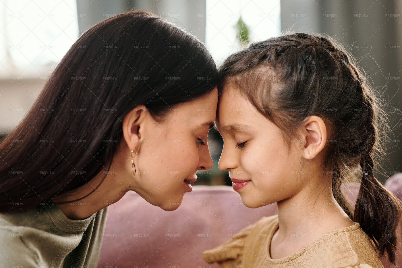 Side View Of Woman With Daughter: Stock Photos