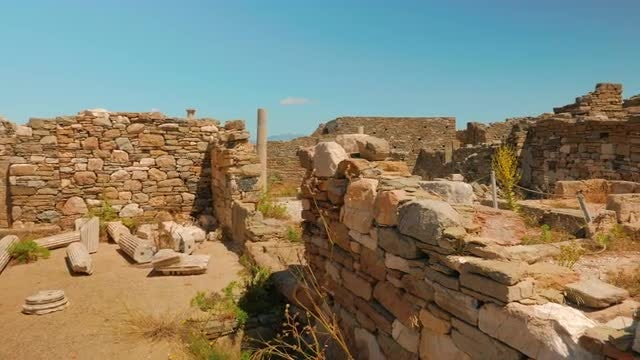 Ancient House Ruins In Delos, Greece: Stock Video
