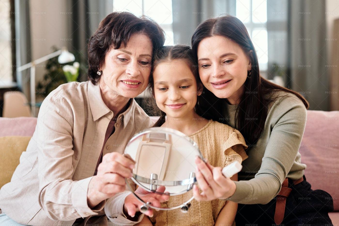 Women Looking At Mirror: Stock Photos