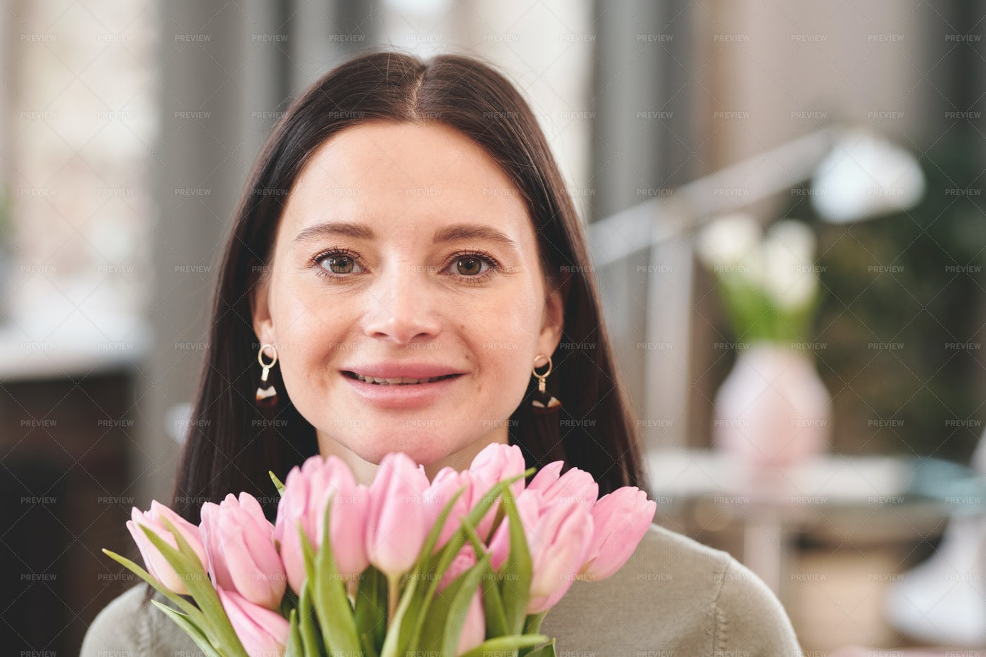Woman With Bunch Of Tulips: Stock Photos