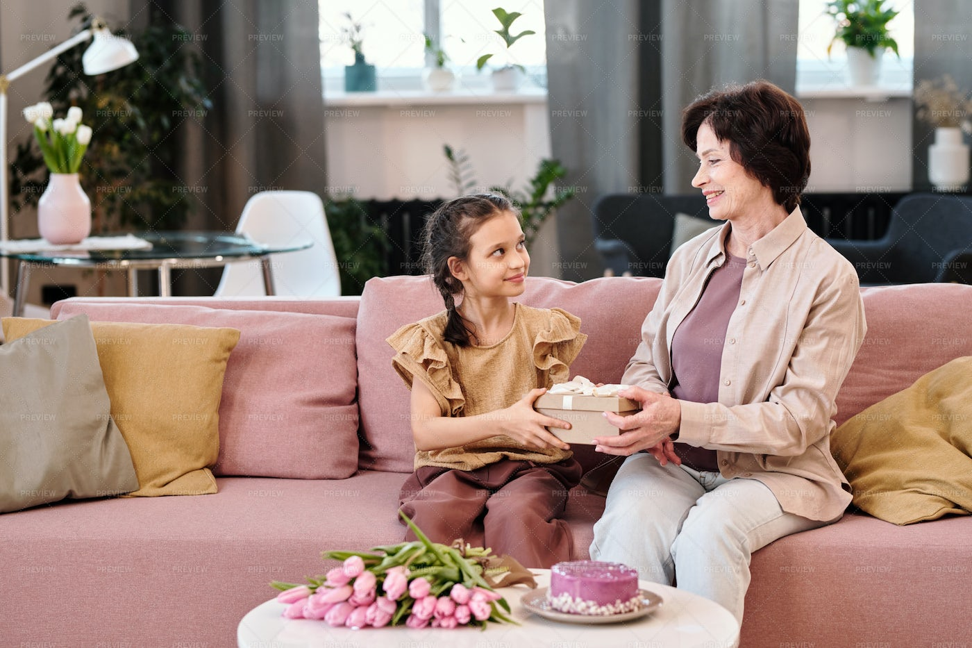 Happy Little Girl Looking At Grandmother: Stock Photos