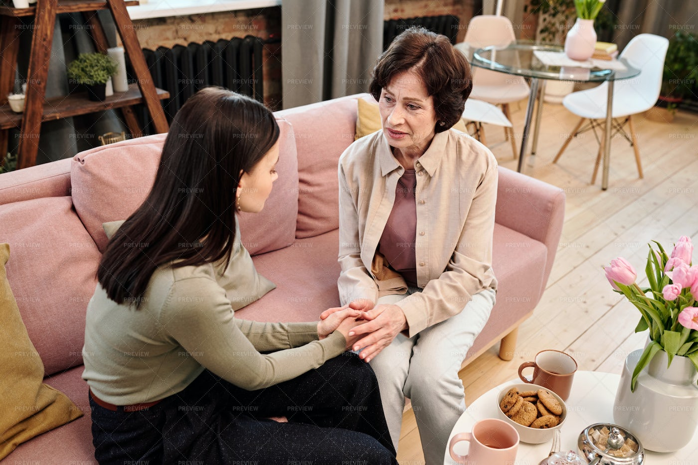 Woman With Daughter Holding Hands: Stock Photos