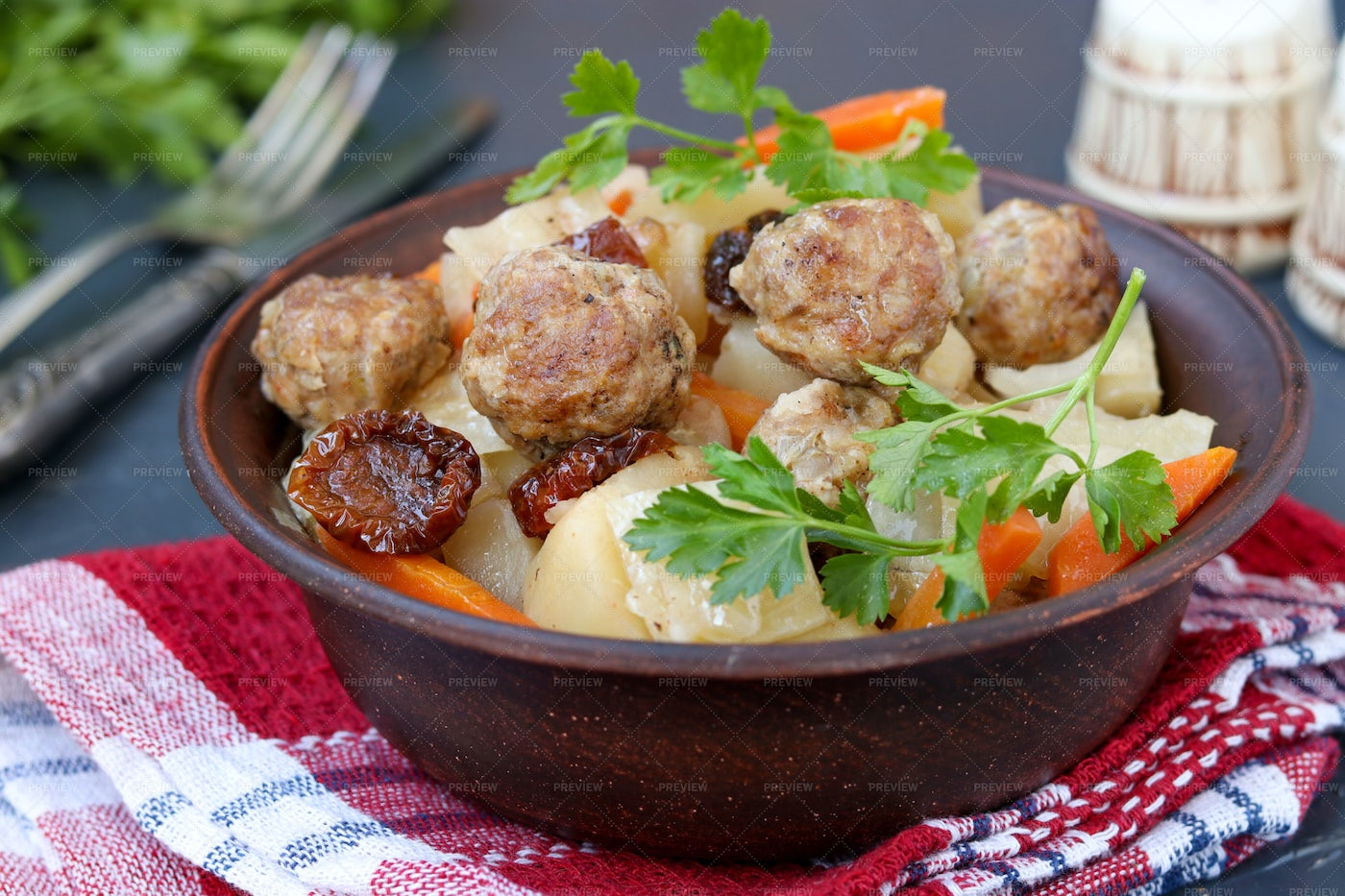 Stewed Potatoes With Meatballs: Stock Photos