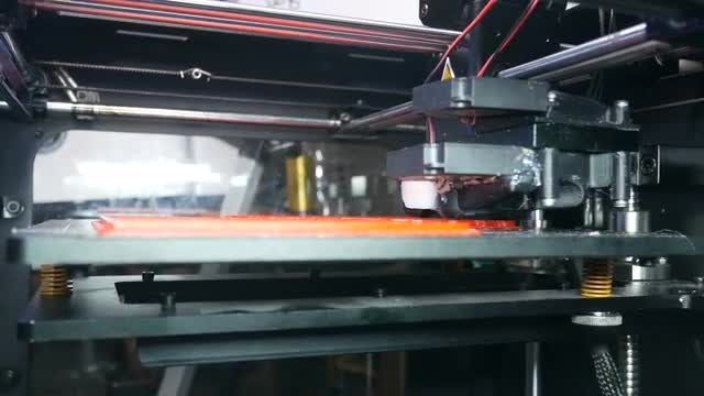 Modern 3D Printer Making A Big Detail: Stock Video