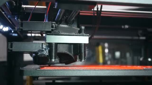 Modern Fast Working 3D Printer In Office: Stock Video