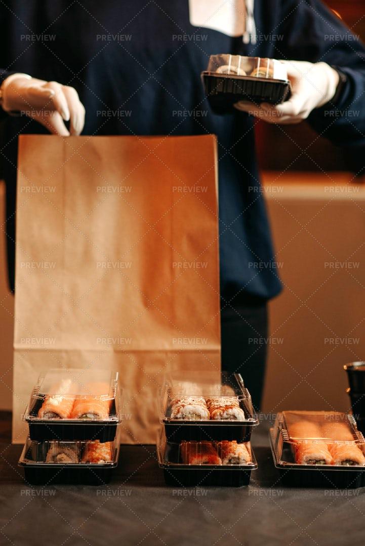 Takeaway Box With Sushi: Stock Photos