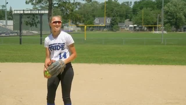 Softball Pitcher Chatting During Warm-up : Stock Video