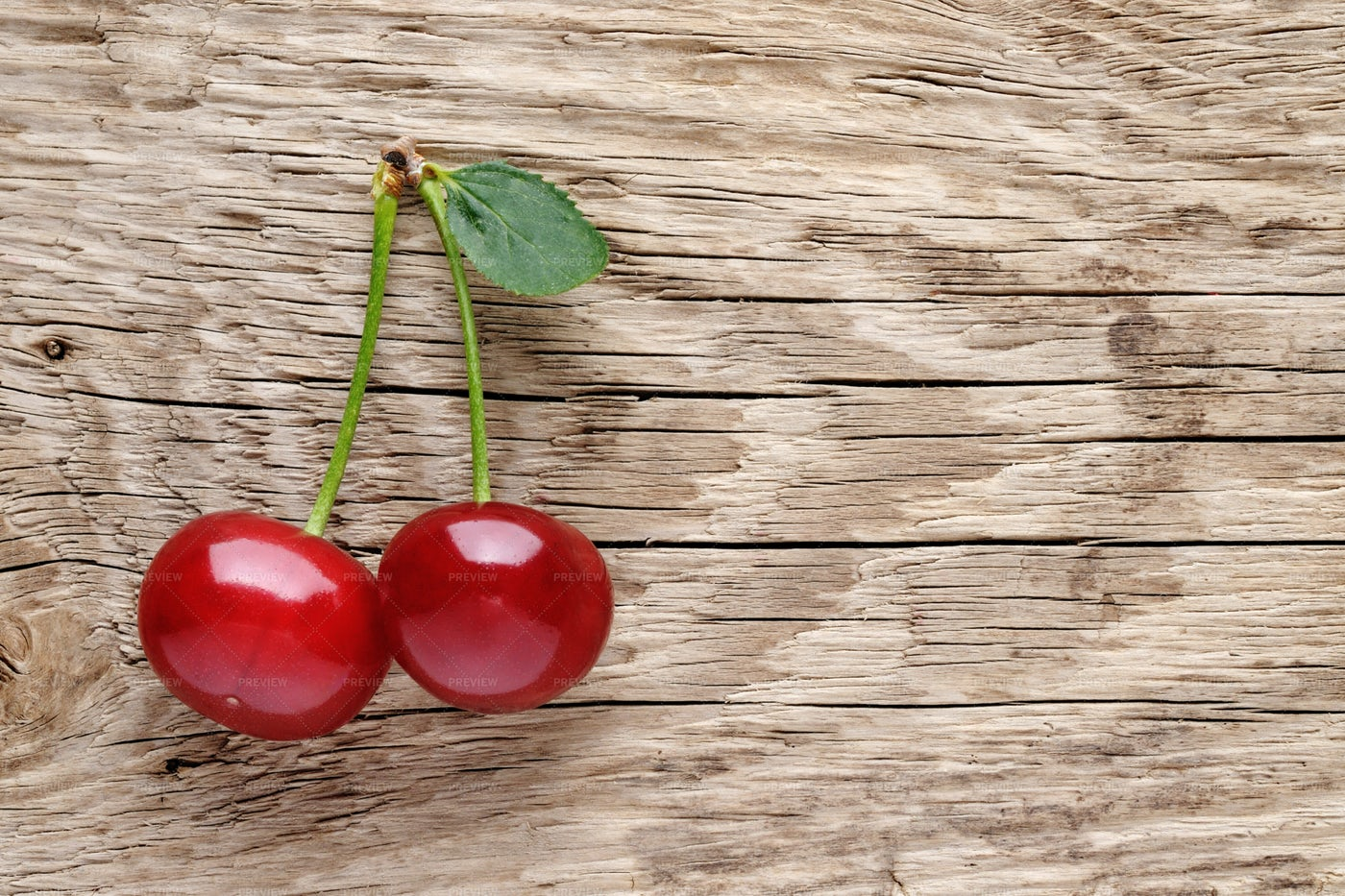 Cherry On Wooden Background: Stock Photos