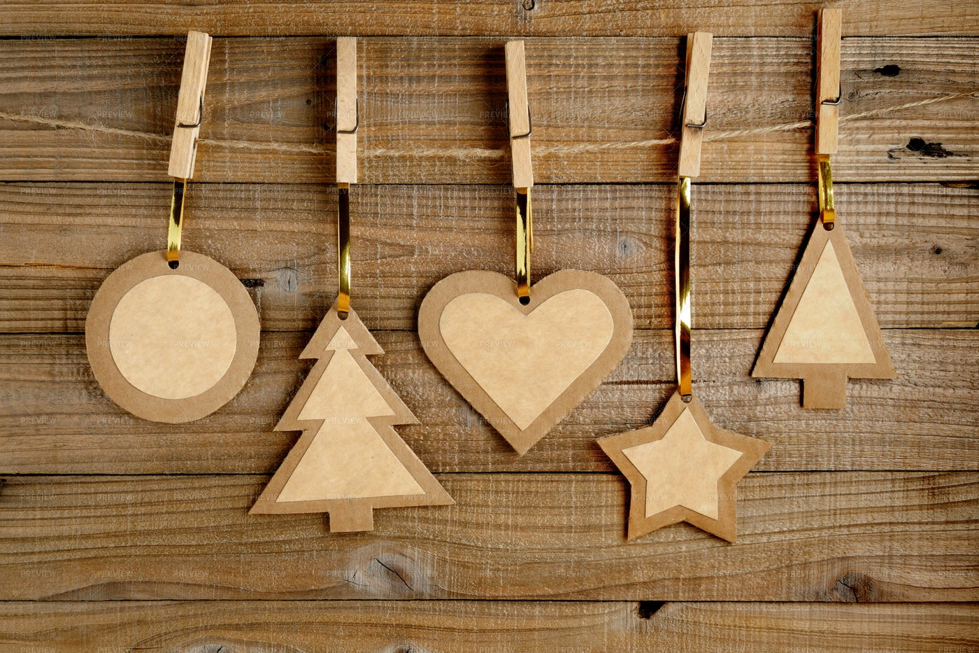 Old Paper Christmas Decorations: Stock Photos