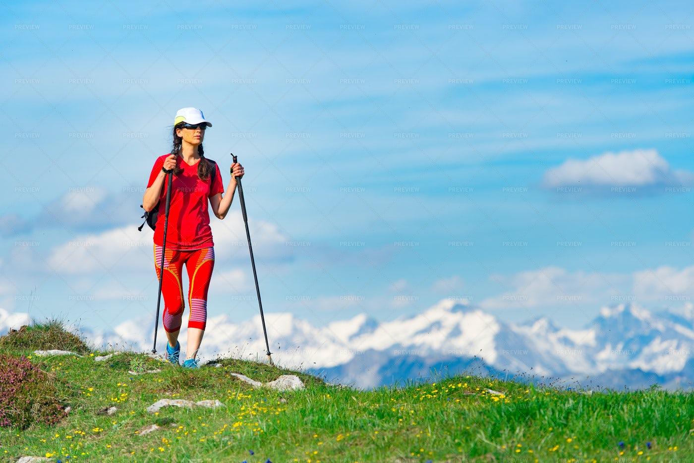 Woman Walking In The Mountain Tourist: Stock Photos