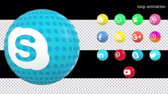 13 Social Media Icons Pack: Stock Motion Graphics