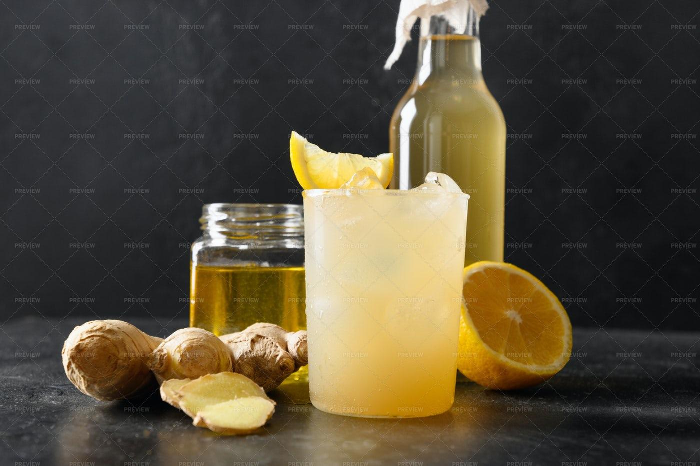 Homemade Kombucha Healthy Drink: Stock Photos