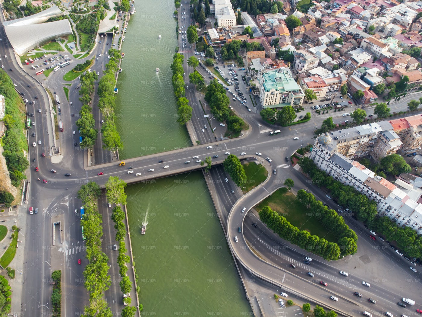 Traffic And Boars In The River: Stock Photos