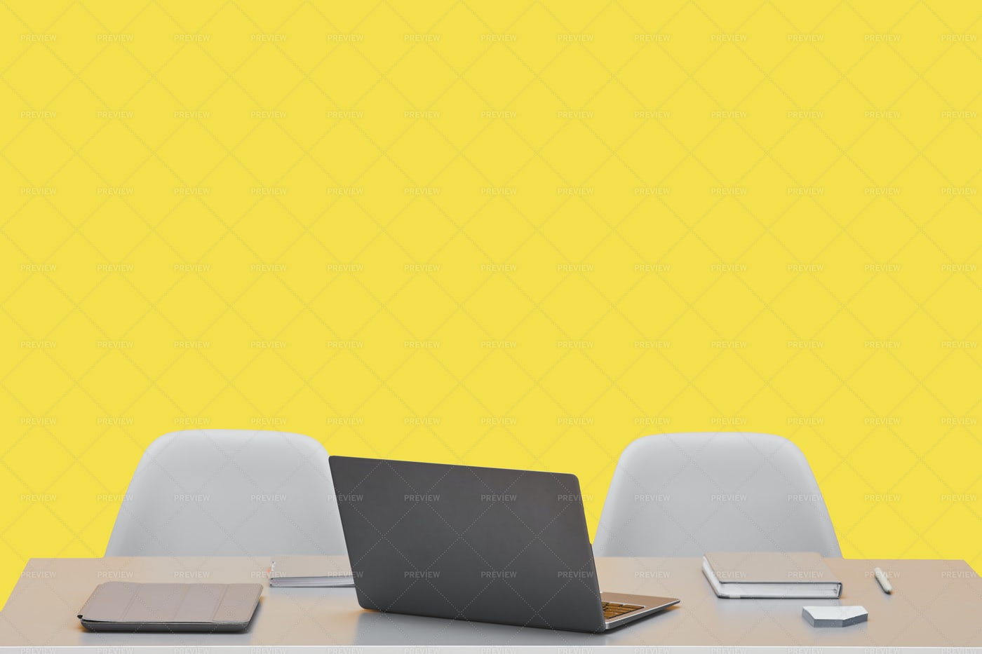 Yellow Workplace Background: Stock Photos