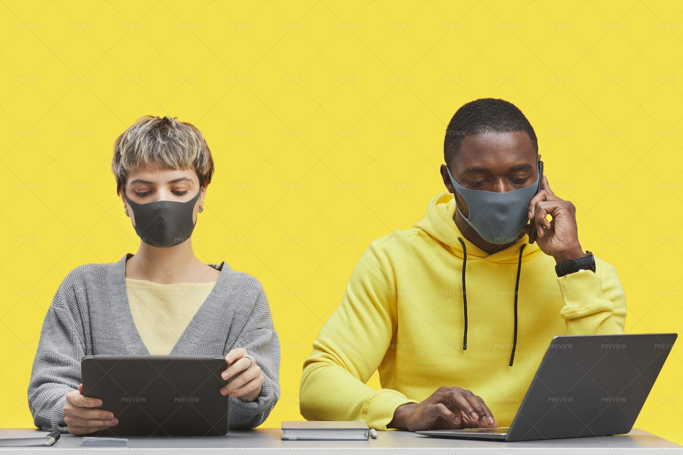 Contemporary People Wearing Masks: Stock Photos