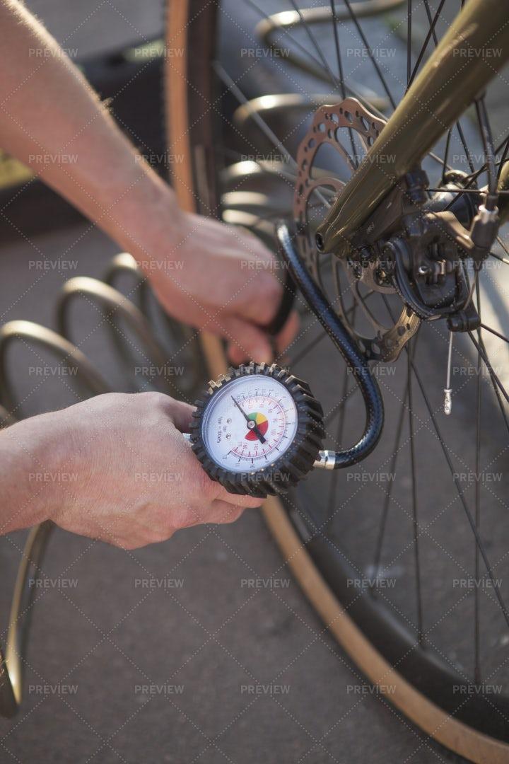 Air Pump Device Inflating Bike Tire: Stock Photos