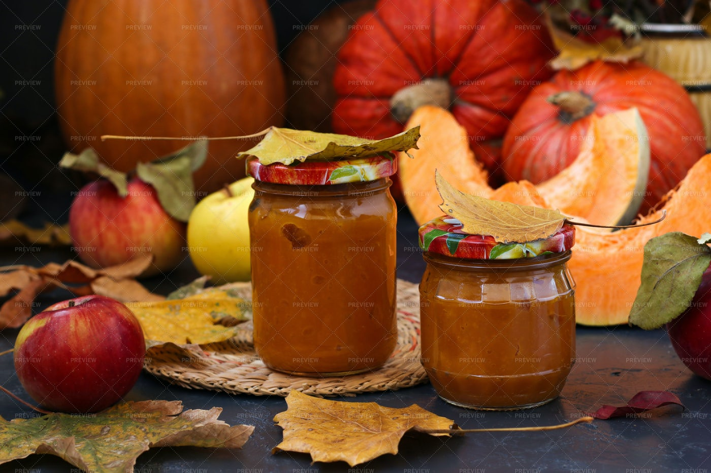 Homemade Puree Pumpkin And Apples: Stock Photos