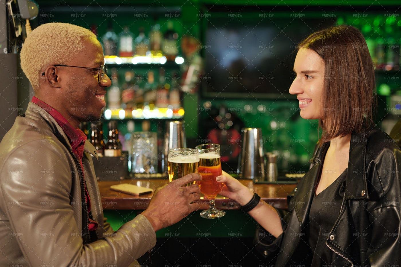 Multiethnic Couple At Irish Pub: Stock Photos