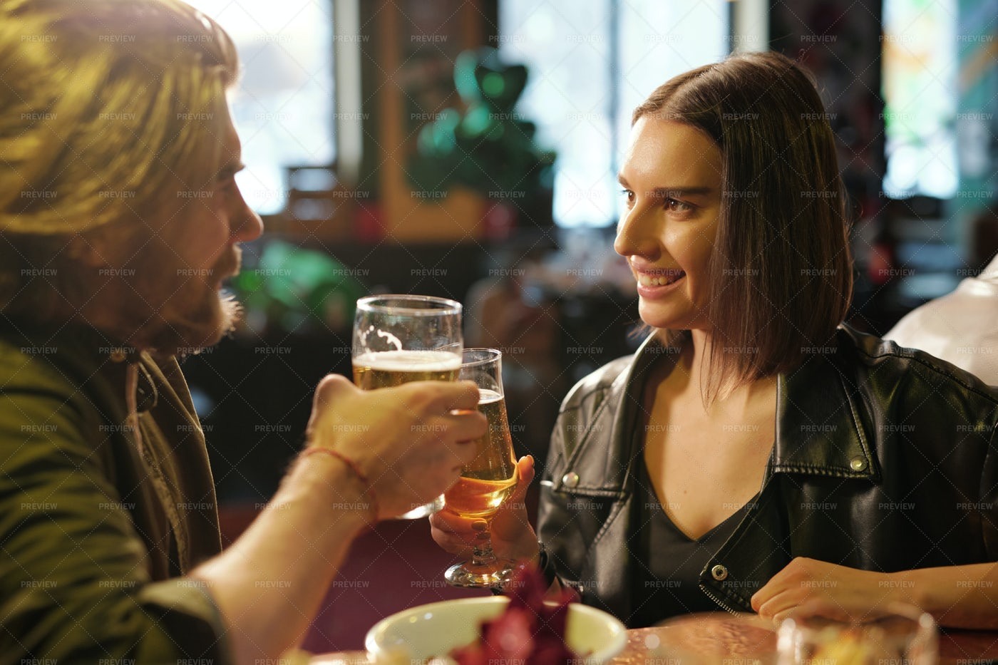 Young Couple In Pub: Stock Photos