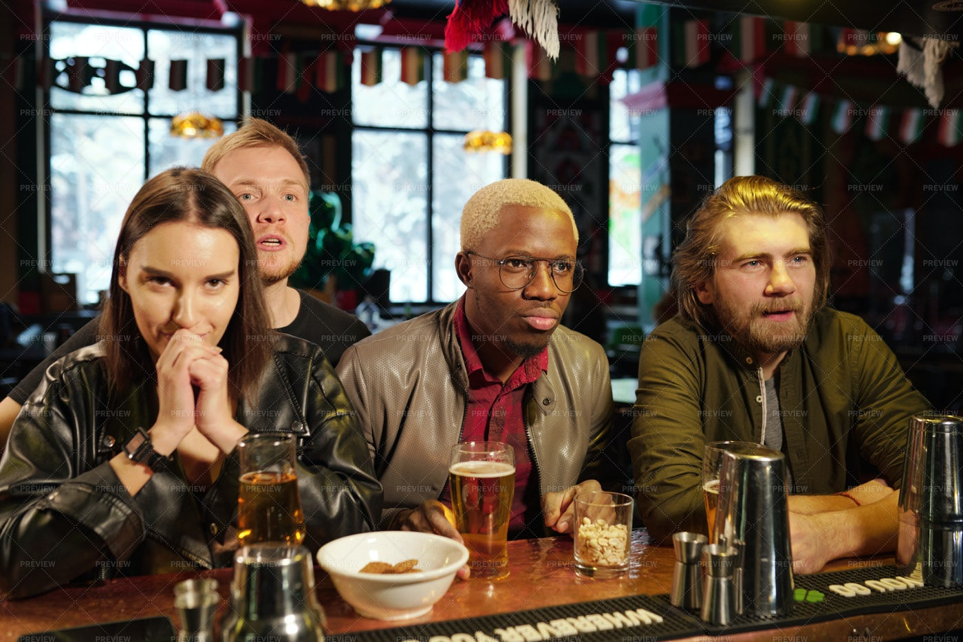 Group Of Friends With Beer In Pub: Stock Photos
