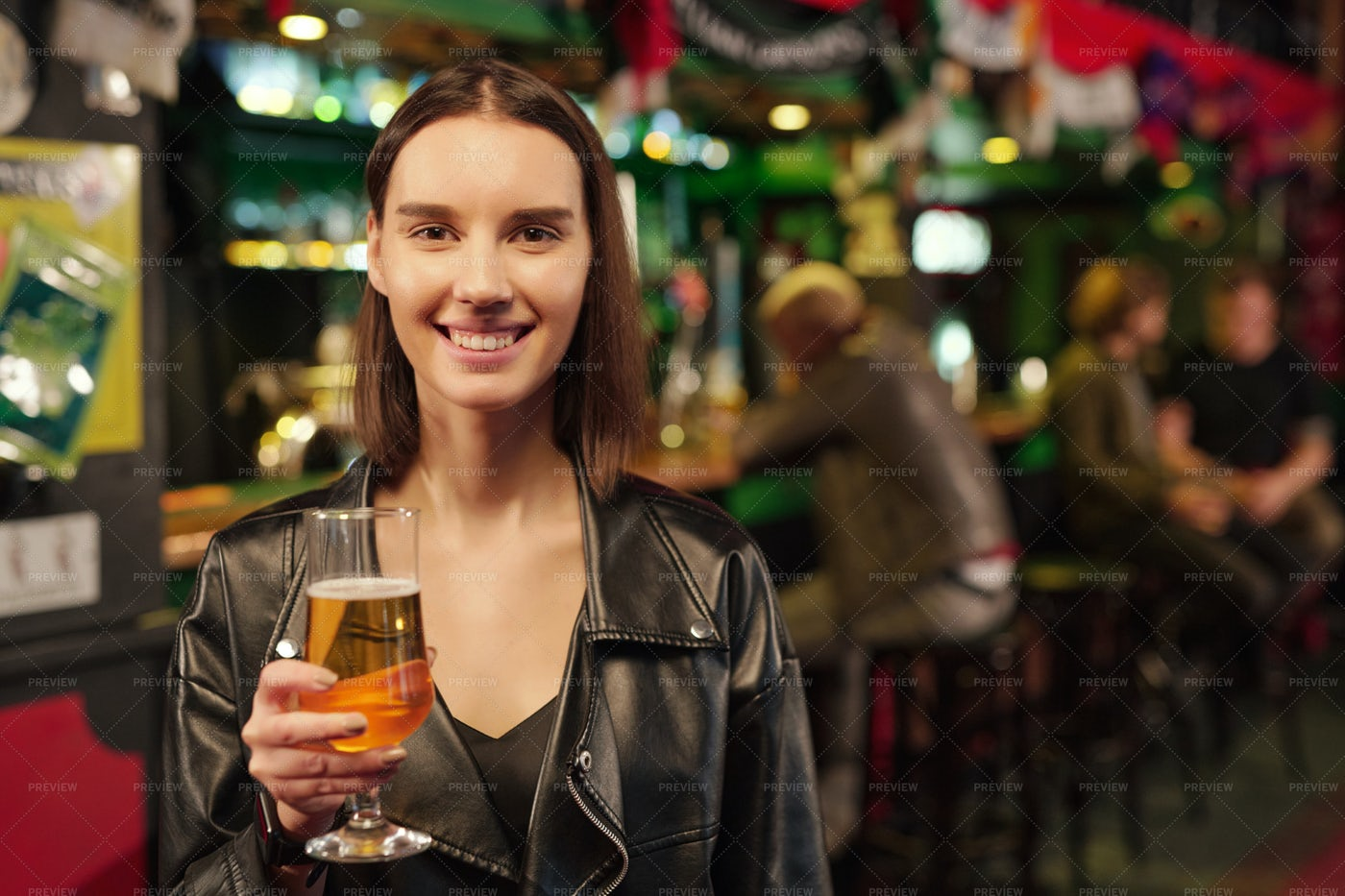 Young Woman In Pub: Stock Photos