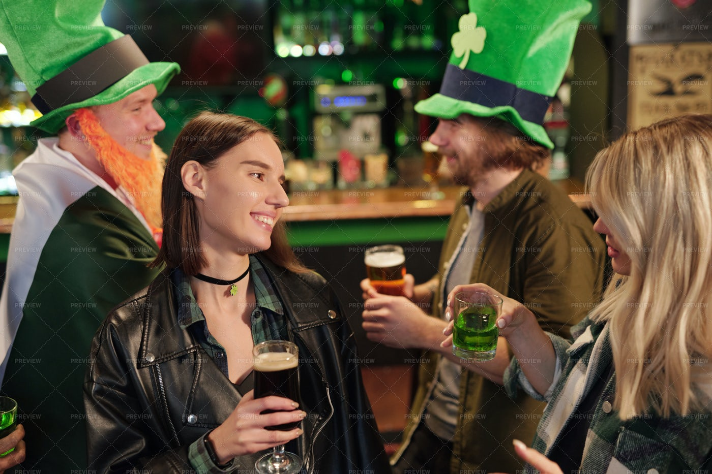 Two Young Women Drinking In Pub: Stock Photos
