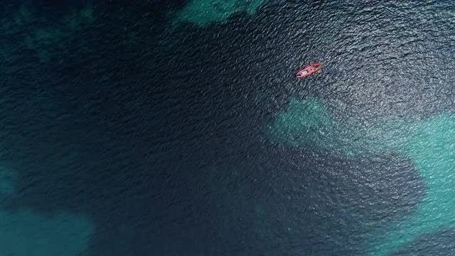 Aerial Shot Of Lone Kayak  - Slow Motion: Stock Video