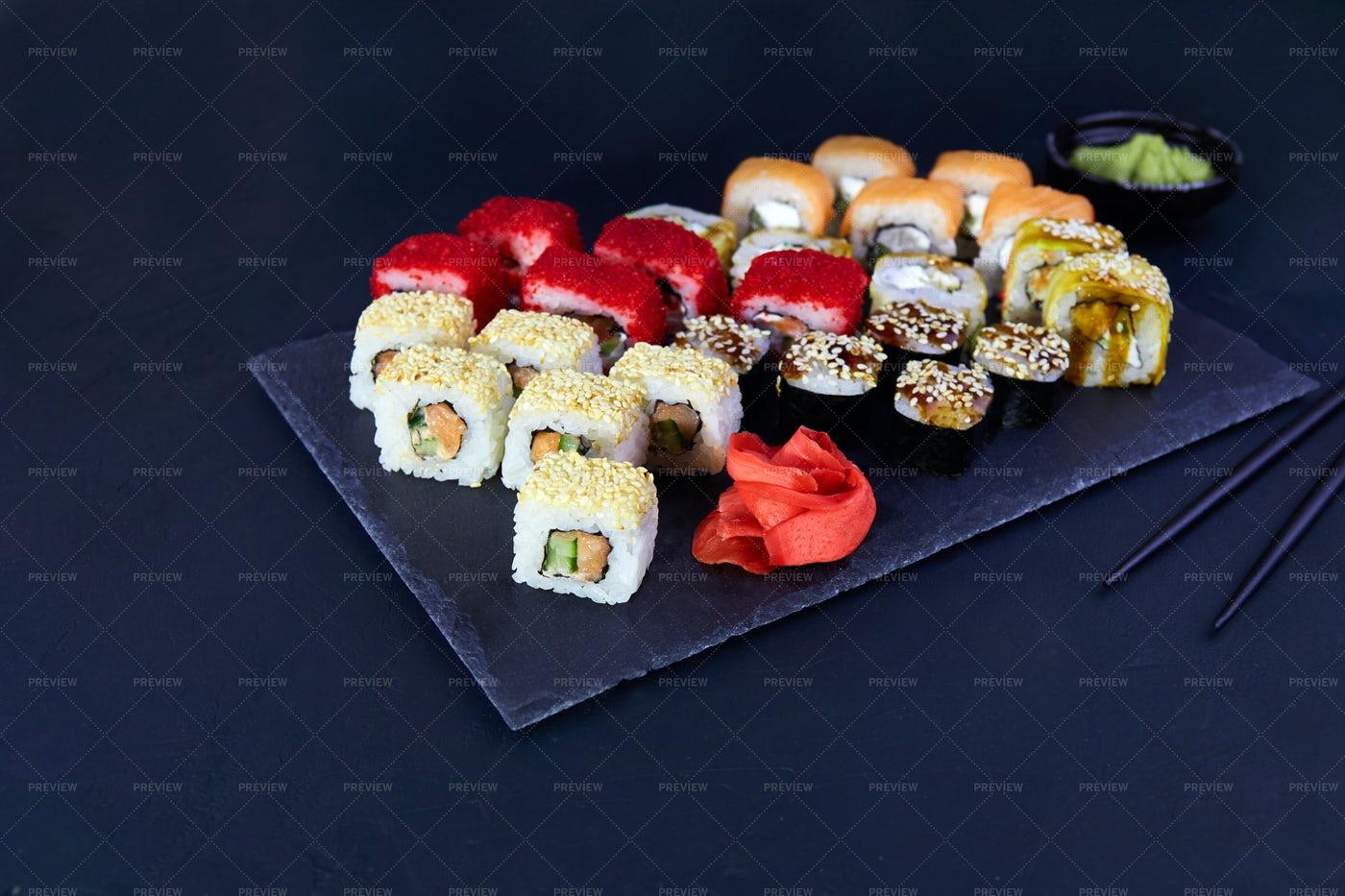 Assorted Set Of  Sushi Rolls: Stock Photos