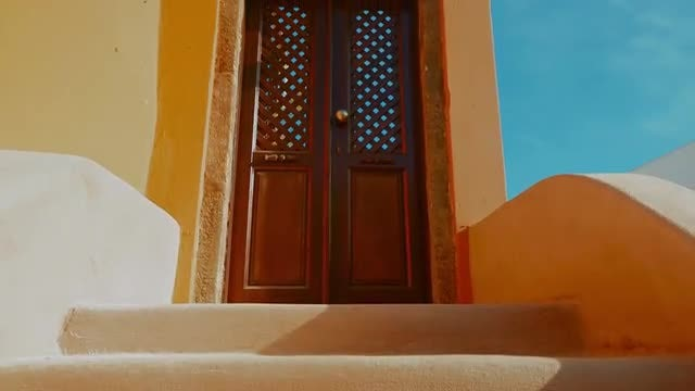 Mediterranean House With Yellow Stairs: Stock Video