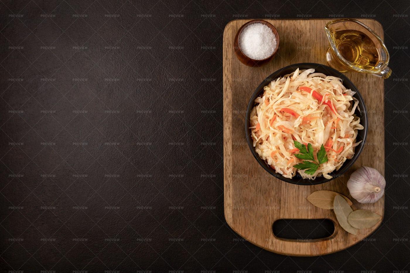 Black Bowl With Sauerkraut: Stock Photos