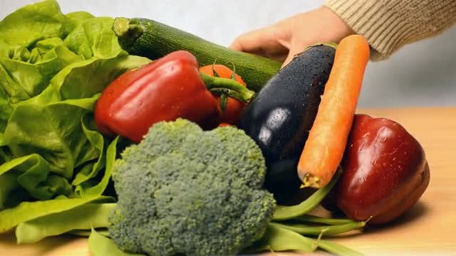 Different Colored Vegetables On Display : Stock Video