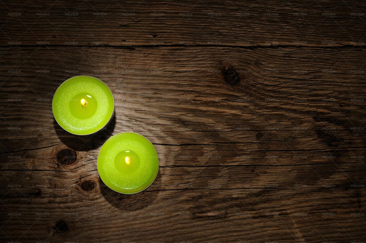 Green Candles: Stock Photos