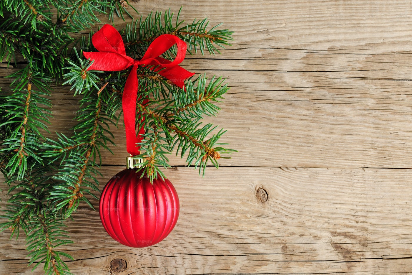 Spruce Branches With Decoration: Stock Photos