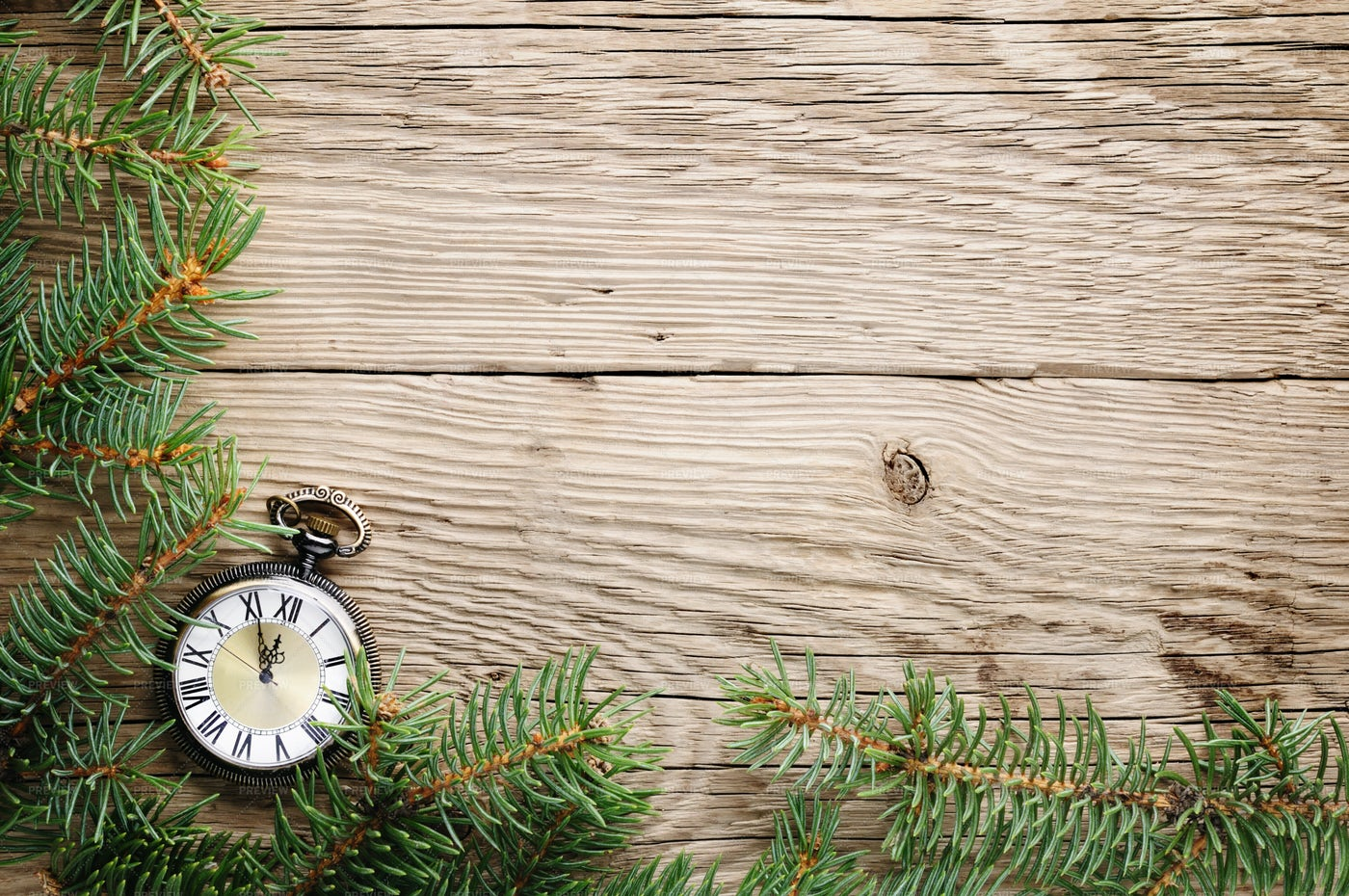 Christmas Tree And Antique Watch: Stock Photos