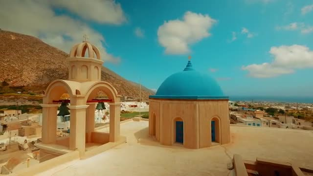 Cycladic Blue Dome Churches: Stock Video