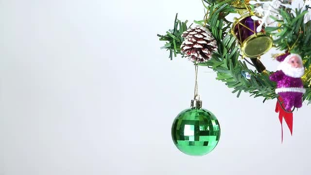Christmas Tree And Colorful Balls: Stock Video