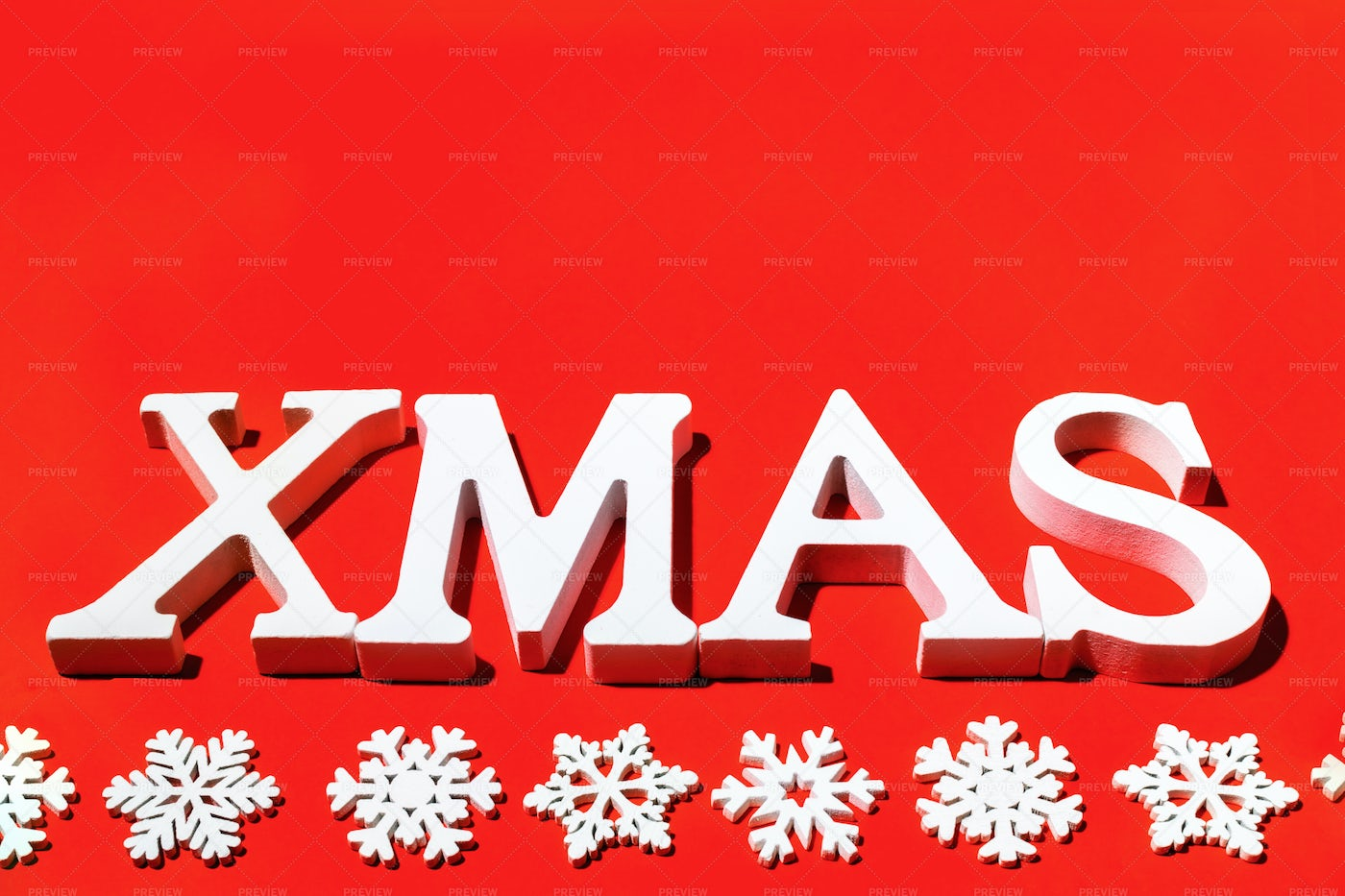 White Letters Xmas On Red.: Stock Photos