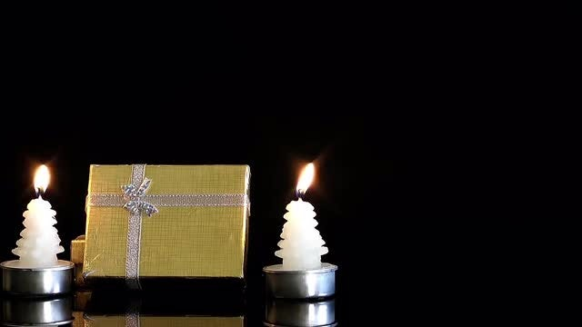 Gift Boxes And Candle Lights : Stock Video