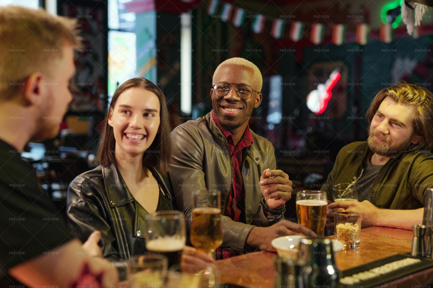 Friends Resting In The Bar: Stock Photos