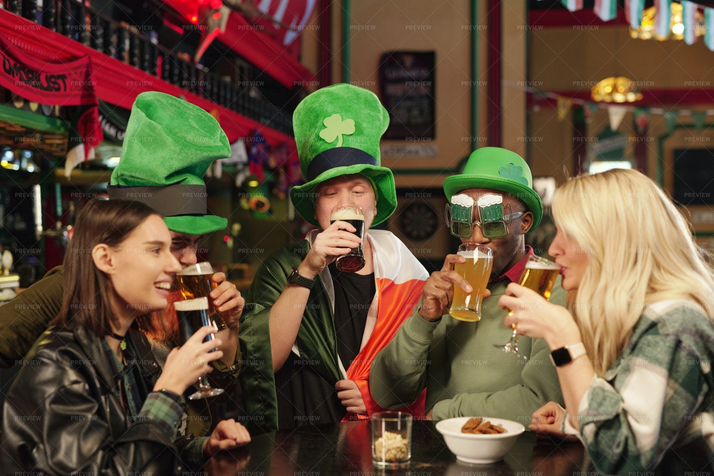Friends Celebrating Patricks Day: Stock Photos